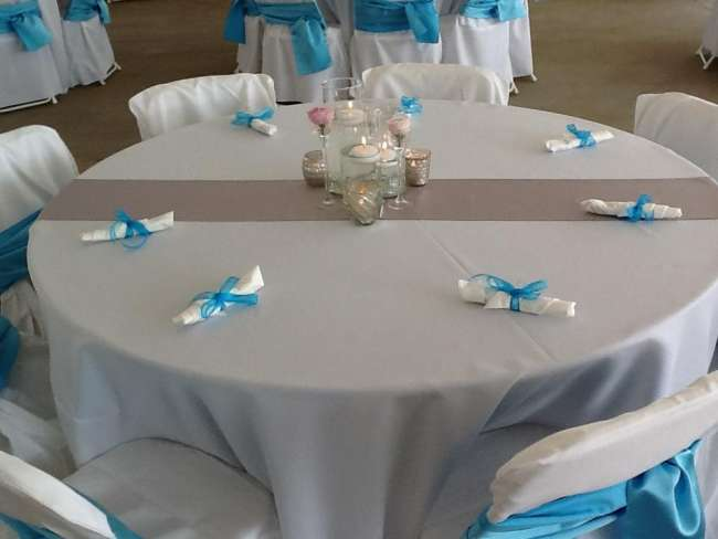 Simple White & Turquoise Tablescape