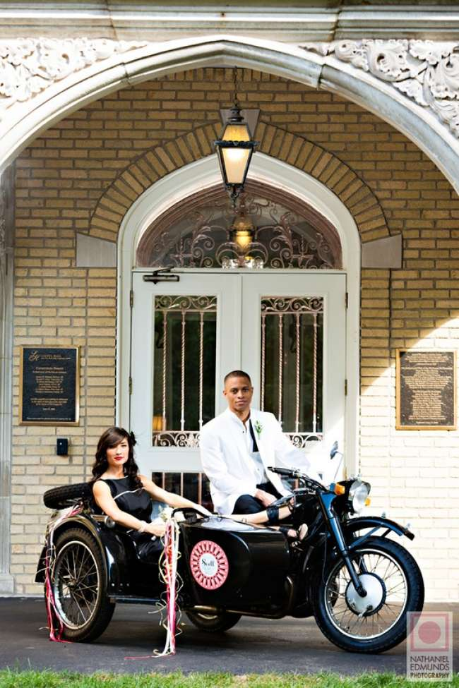 Bride and groom with motorcycle