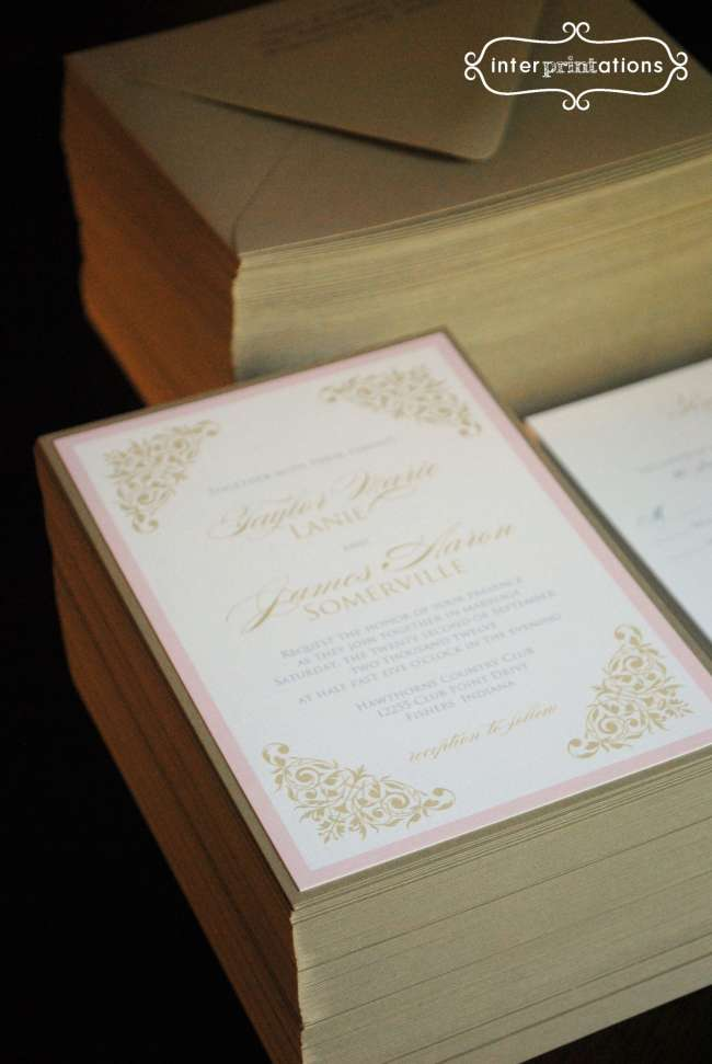 Gold Vintage Scroll Invitations