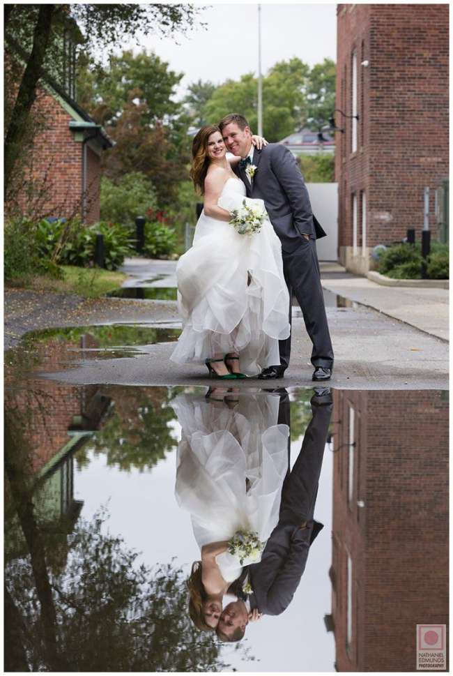 Bride & Groom's Reflection in a Puddle