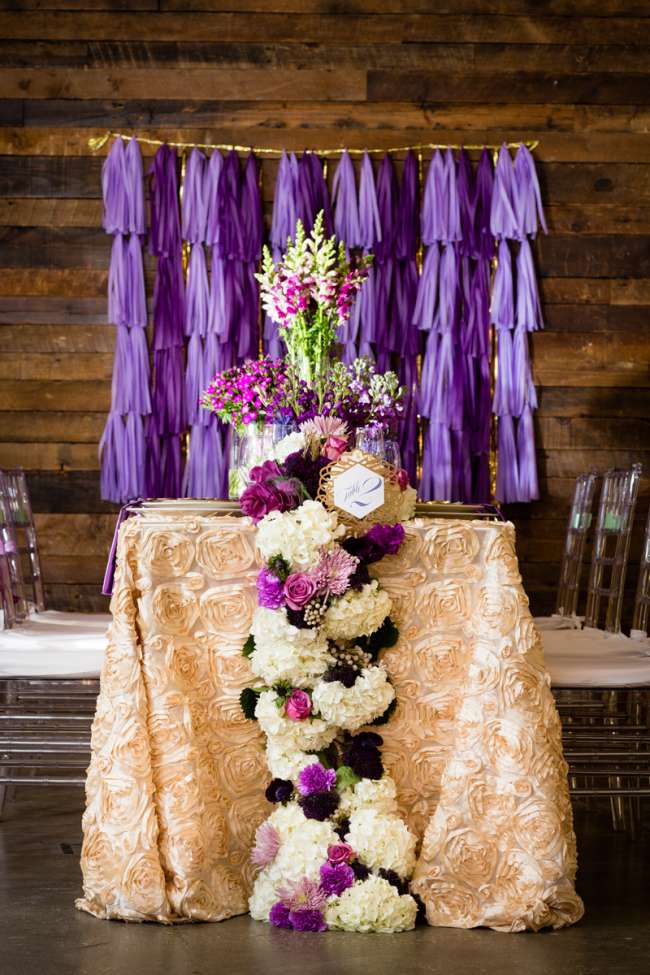 Purple & Ivory Florals on Reception Table