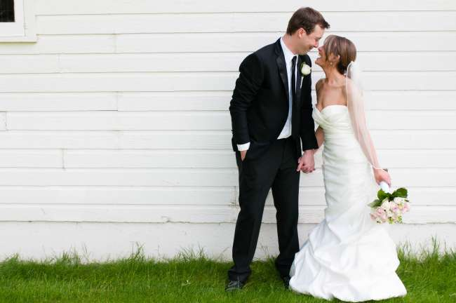 Bride and groom in formalwear
