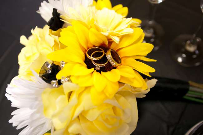 Bride & Groom's Rings on a Sunflower