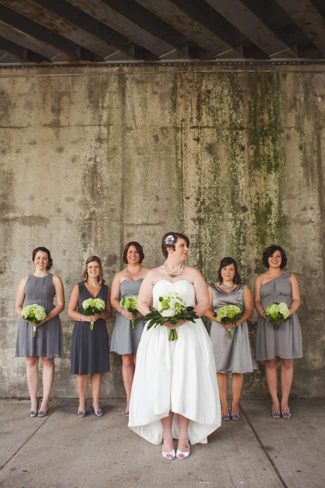 High-Low Wedding Gown & Mismatched Bridesmaid Dresses