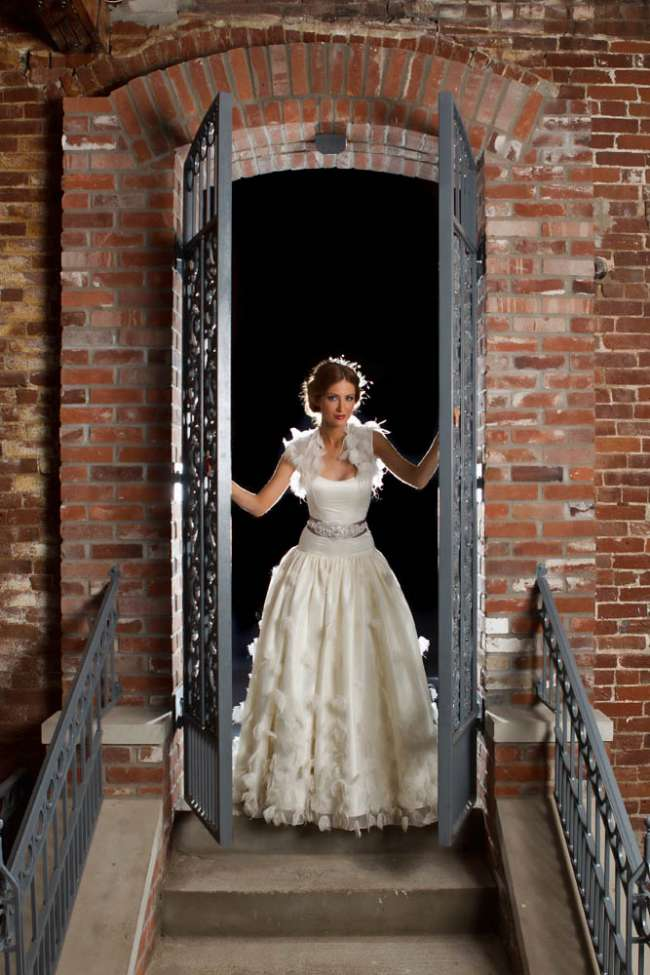 Dramatic Shot of a Bride in a Doorway