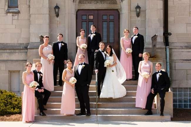 Elegant Wedding Party On Church Steps