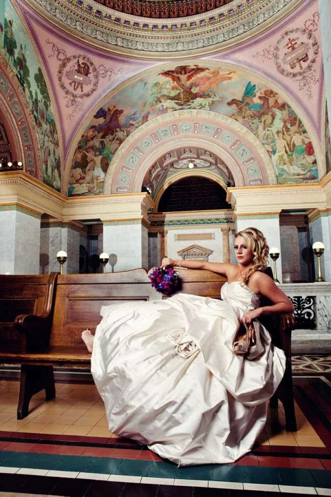 Bride in Allen County Courthouse