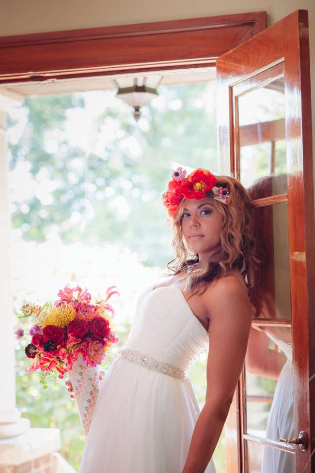 Bride With Bold Headpiece & Bouquet