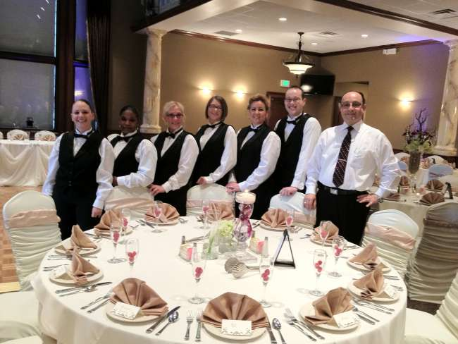Service staff at wedding reception