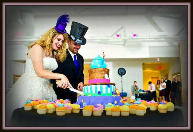 A colorful and whimsical wedding cake
