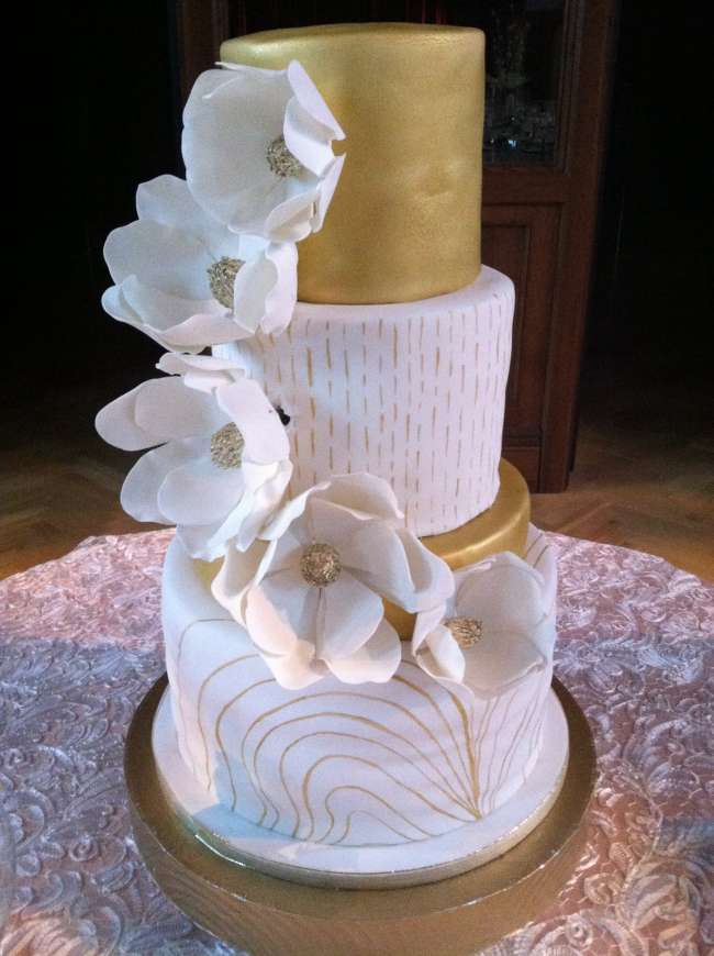 White & Gold Three-Tiered Cake