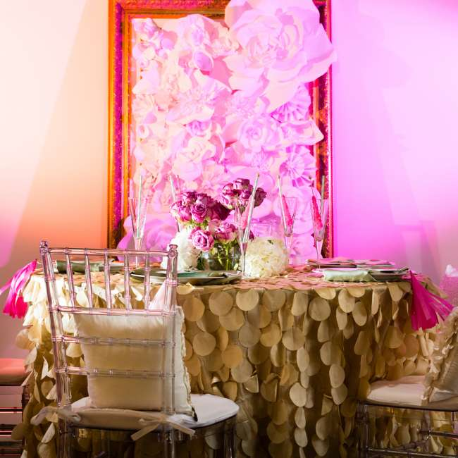 Whimsical Pink & Gold Reception Table
