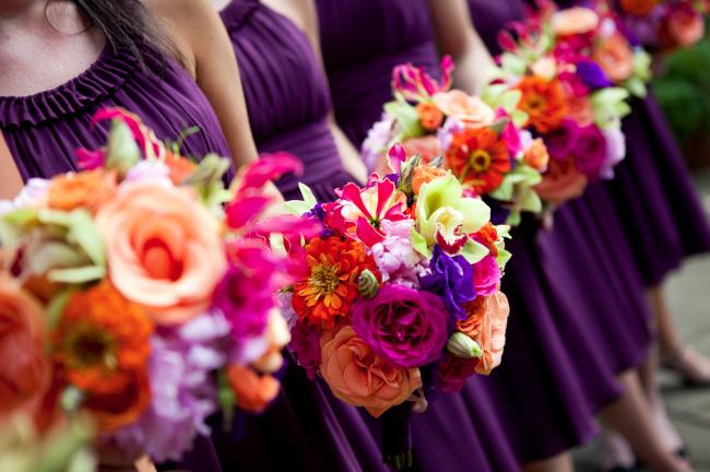 Vibrant bridesmaids' bouquets