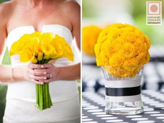 Yellow bouquet brings summer into the wedding