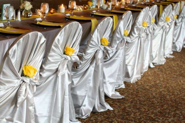 Yellow & Silver Chair Covers