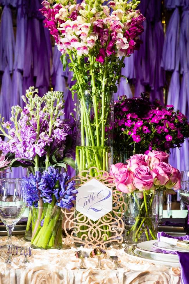 Arrangement of Tall & Short, Pink & Purple Floral Centerpieces