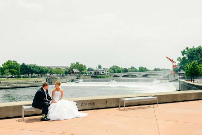Bride & Groom Sitting at the Island at the Century Center
