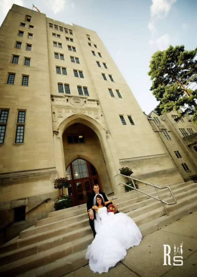 Bride & Groom Outside of Indiana Memorial Union