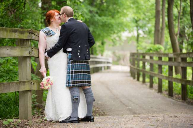 Bride & Groom In Kilt & Sash