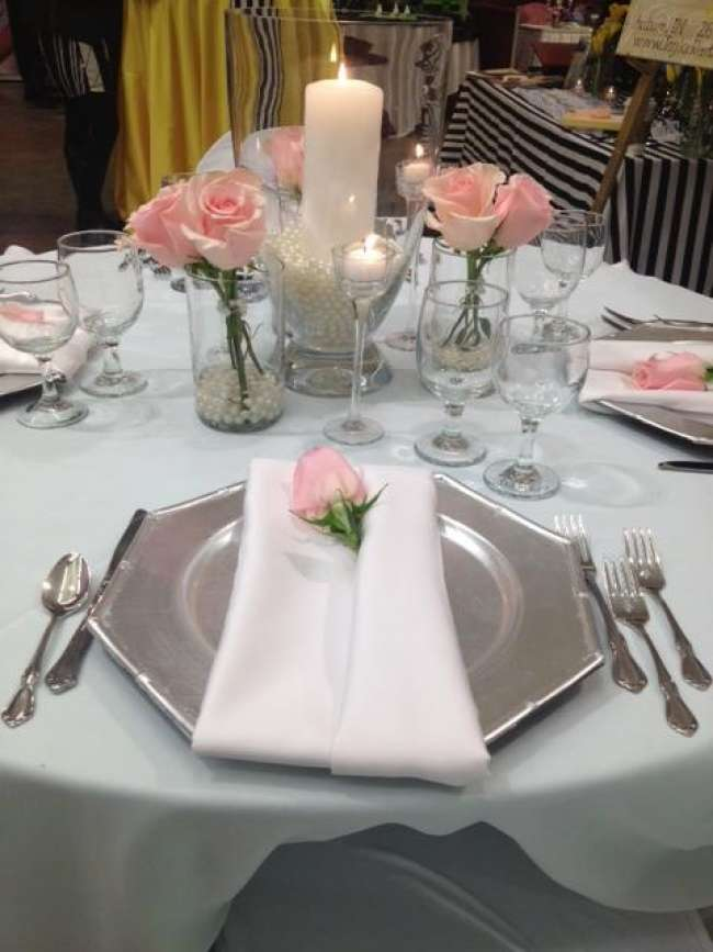 Silver, White & Pink Tablescape With Roses