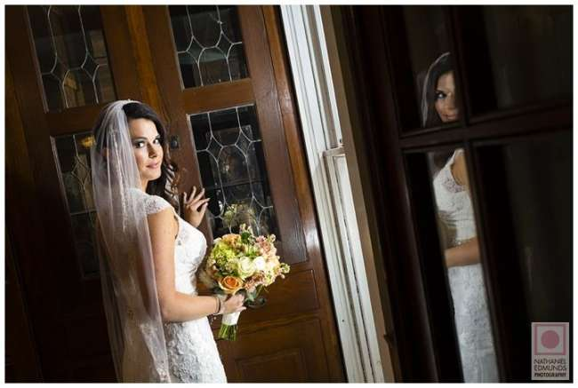 Bride Looks Over Her Shoulder