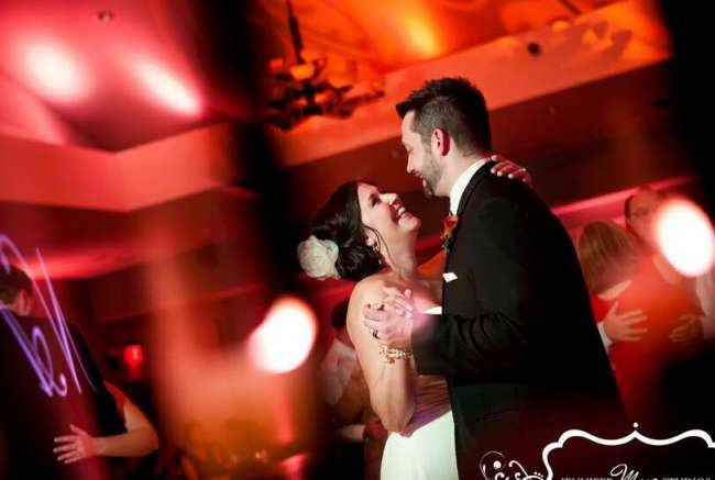 Bride & Groom Dance in Red Lighting