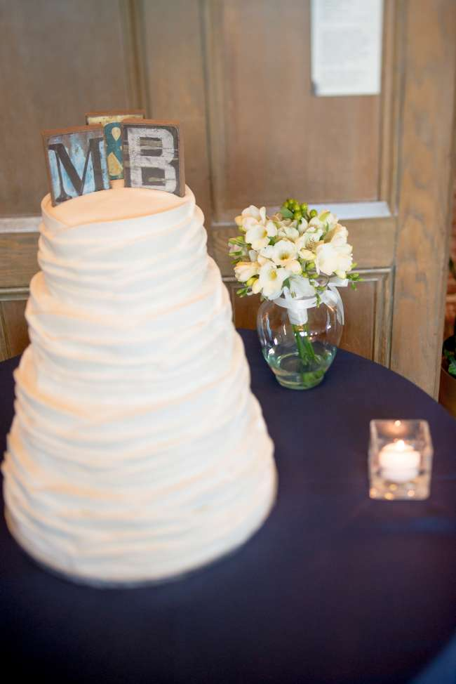 White Cake with Rustic Cake Topper Initials