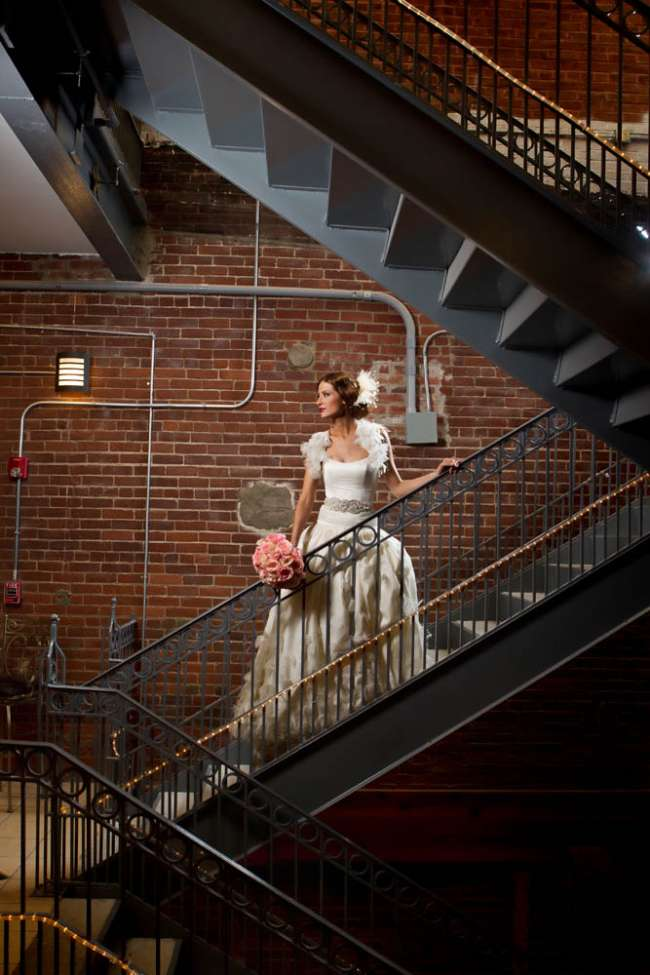 Bride in Urban Banquet Hall Staircase