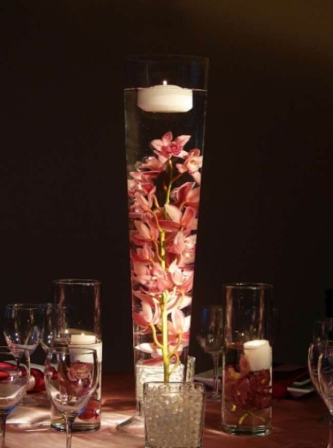 Tall Floral Centerpiece With Floating Candle