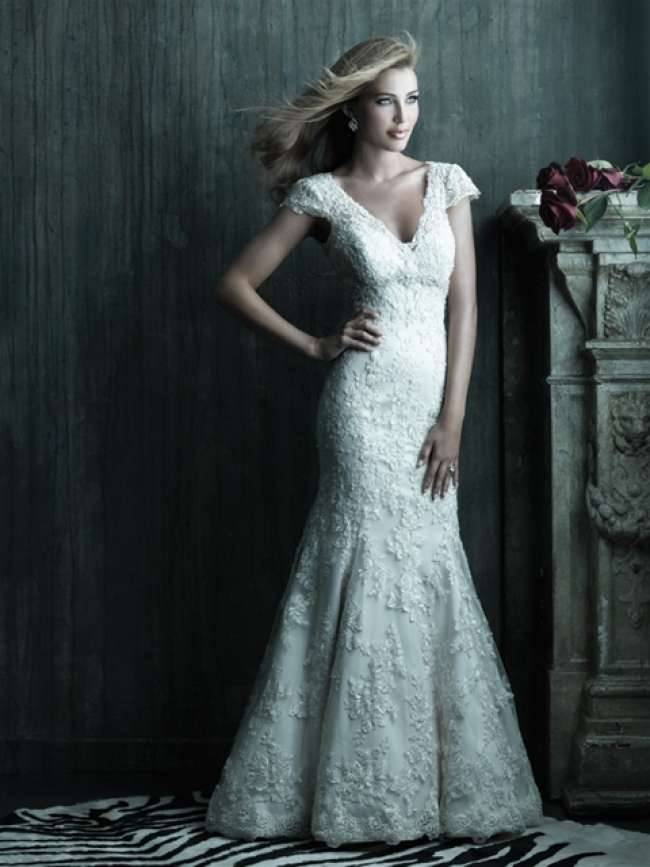 Wedding gown with capped sleeves