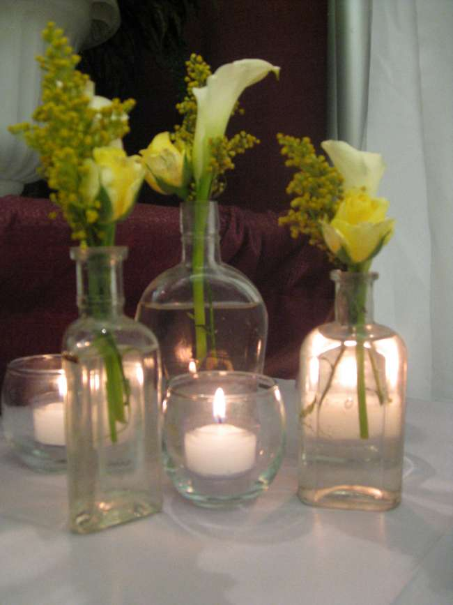 Yellow Floral in Mismatched Vases