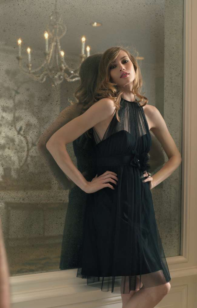 Black Halter Bridesmaid Dress