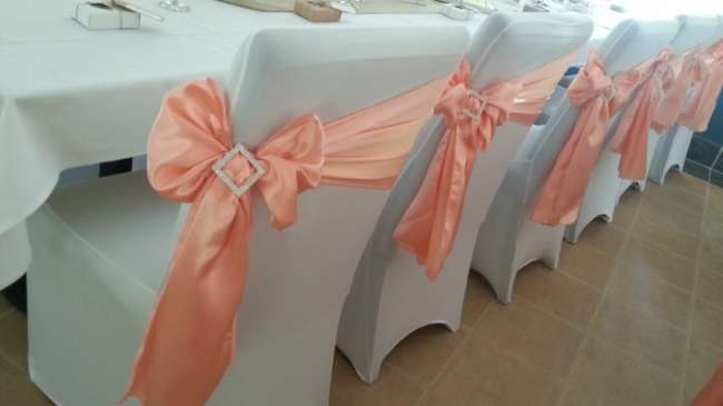 Peach Chair Sashes With Crystal Accent