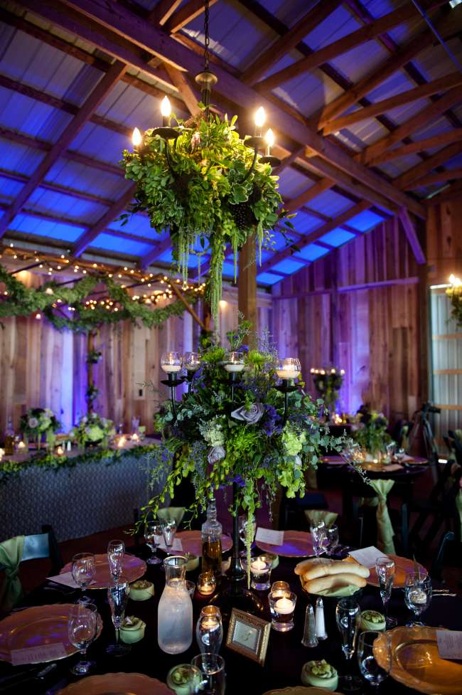 Chandelier Draped in Greenery