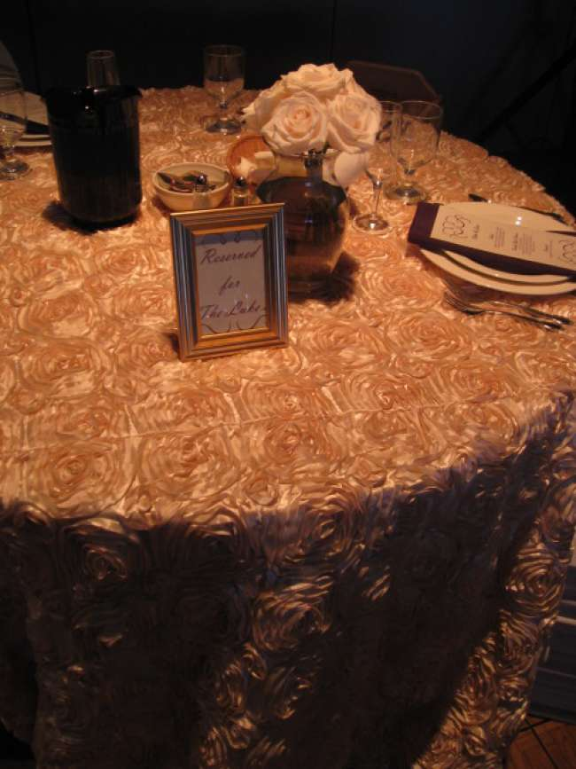 Textured Table Cloth on Reserved Table