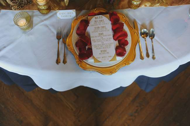 Red & Gold Table Setting & Menu
