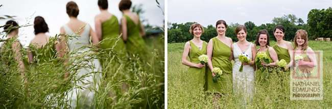 Bridesmaids in scenic field