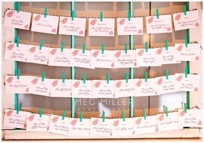 Turquoise and Pink Escort Cards