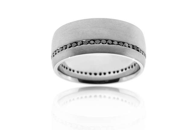 Wedding Band with Black Inset Diamonds