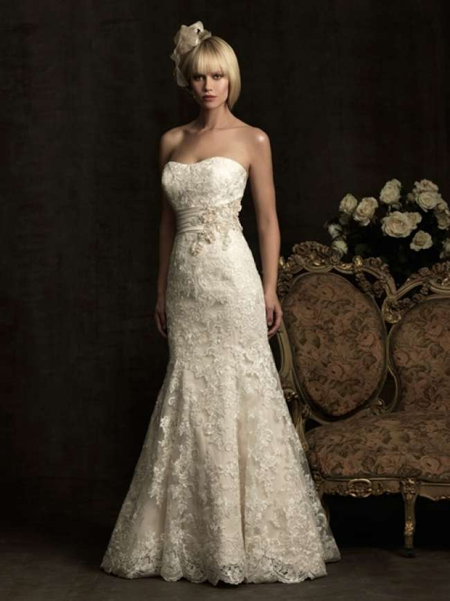 Allure Strapless Lace Gown