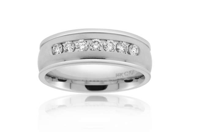 Wedding Band with Inset Diamonds