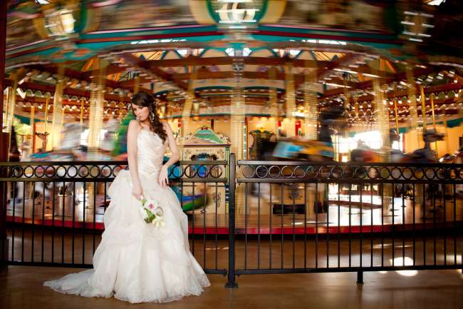Bride Standing by Carousel at Shadowland Ballroom