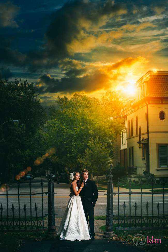 Bride & Groom With Powerful Sunset