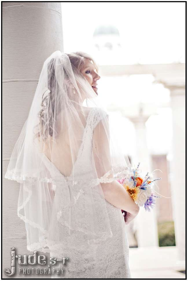 Lace-Trimmed Veil & Lace Dress