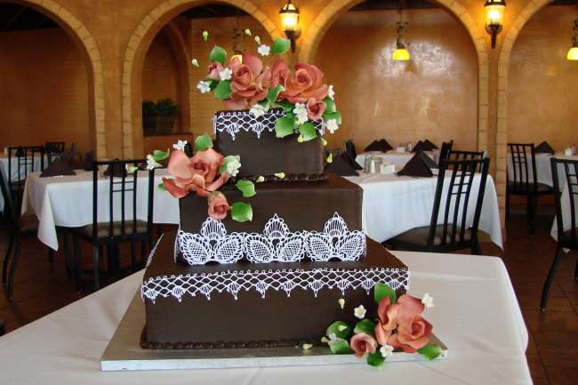 3-Tiered Lace Chocolate Cake