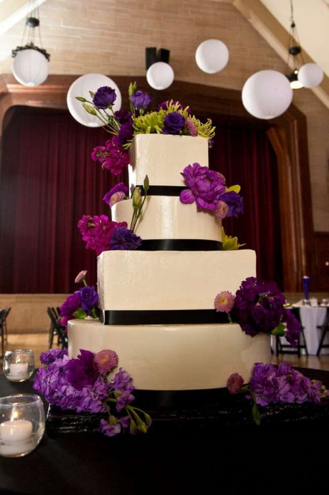 Four-TIered Cake with Purple Flowers