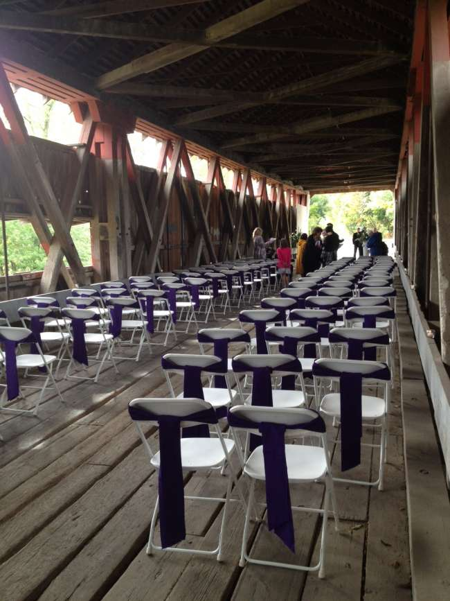Ceremony at Spencerville Covered Bridge