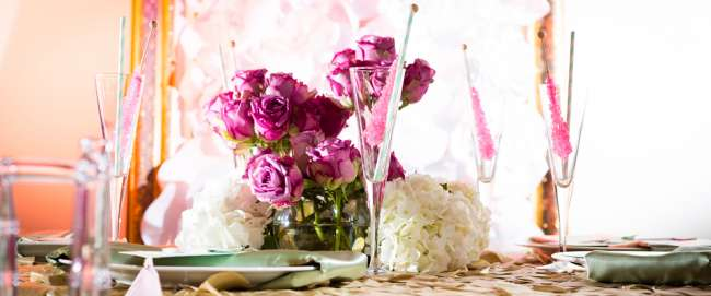 Pink Roses & Rock Candy on Tablescape