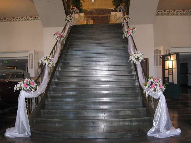 Draped Fabric & Flowers on Stairwell