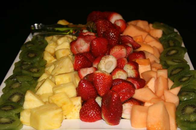 Fruit tray displayed at a wedding reception